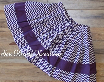 Girl's Skirt - Dark Purple Chevron and Solid Dark Purple - 3 Tier Skirt