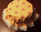4 Yellow Floral Canning Jar  Bonnets/Jar Topper /Jar Lid Cover