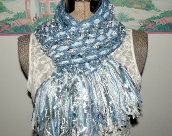 Crochet Ice Blue Scarf, Unique Woven Design, Soft like a Rag Rug, Fringe