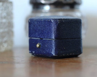 Antique Blue Ring Box Engagement or Wedding Ring Box