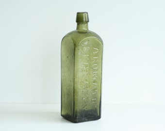 SALE Antique Bottle 1800's Aromatic Schnapps Green bottle 24cm