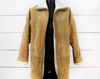 70s Genuine Suede Faux Fur Lined Long Coat M L - Boho Bohemian Field Coat Warm 80s