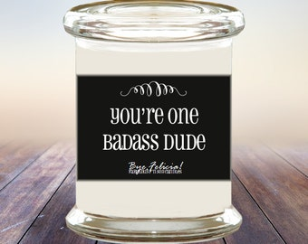 Badass Dude Soy Candle, gifts for men, mens gift, for men, men gifts, boyfriend gift, gift for boyfriend, husband gift, gift for husband (1)