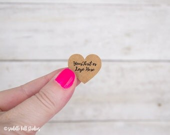 "Custom Stickers - Heart Stickers - Set of 110 1x0.9"" - Personalized Stickers - Kraft Stickers - Custom Labels - S0115-1"