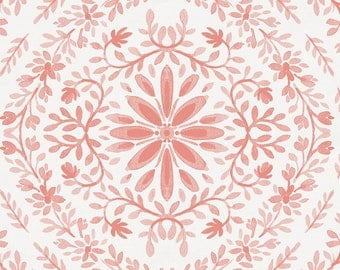 Light Coral Floral Damask Organic Fabric - By The Yard - Girl / Modern / Fabric