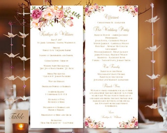 """Printable Wedding Program """"Romantic Blossoms"""" Template Perfect for Spring, Summer Garden or Outdoor Ceremony DIY Order of Service You Print"""
