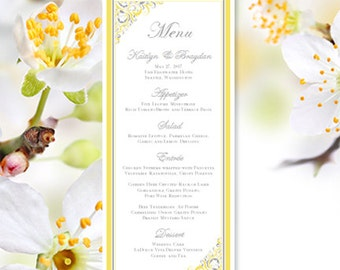 "Printable Wedding Menu Template ""Brooklyn"" Yellow & Gray Menu Card Make Your Own Reception Menus All Colors Avenue for Order DIY You Print"