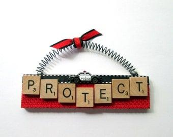 Police Protect Cop Scrabble Tile Ornament