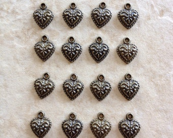 6 heart charms, antique bronze heart, charms, findings, vintage findings, jewelry, making, general supplies, commercial, craft