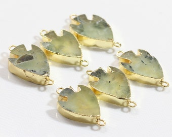ArrowHead Prehnite Connectors -- With Electroplated Gold Edge Charms Wholesale Supplies YHA-117