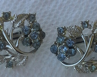 Coro 1940's clip on earrings silver tone light blue rhinestones