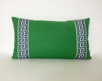Kelly Green Pillow Cover with Greek Key Trim