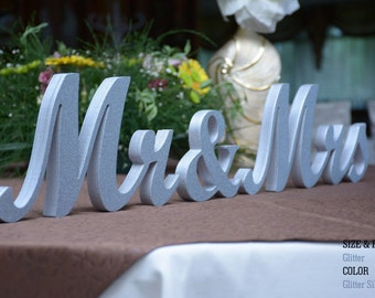 Silver Glitter Mr and Mrs Wedding Signs, Wedding Signs Glitter Mr. & Mrs, Mr and Mr - Mrs and Mrs, Wedding Decor, Wedding, Mr and Mrs