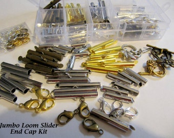 Bead Loom Slider Clasp Jumbo Kit, 36 Sliders, 6 Each, 4 Different Sizes,1/2, 3/4, 1,  1 1/8 Inch, Fits Size 11 or 8 Beads, Bonus Findings