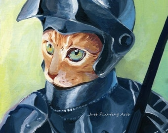20% OFF Cat Knight,Cat portraits- Art Print 8.5 x11(letter size)