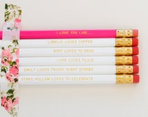 Gilmore Girls Gold Engraved Pencil Set - I love you like gold pencil set - Lorelai loves coffee - personalized pencils