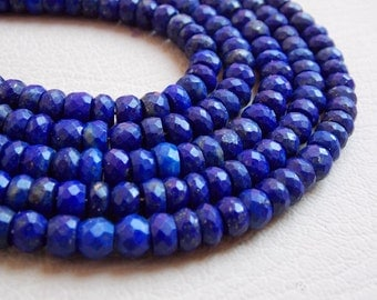 "1. Strand 14"" Real Lapis Lazuli Faceted Roundel Beads 6 MM Approx Top Finest Quality 100% Natural Wholesale Price New Arrival"
