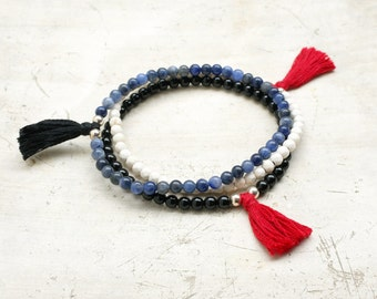 Intuition Protection and Calmness Tiny beads Mala Bracelets yoga jewelry wrist mala gemstones bracelet with tassel Yoga prayer beads