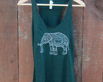 Henna Elephant Tank, Workout Shirt, Yoga Tank, Boho, Bohemian Clothing, Hippie Clothes