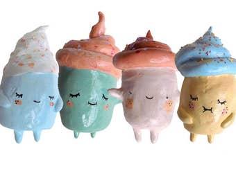 Four Cupcake Ornaments
