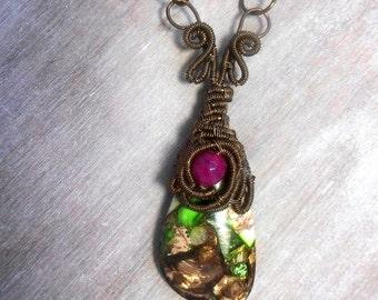 Semi-precious stone necklace - bronze