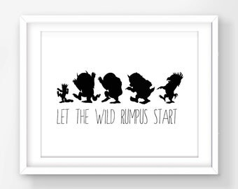 30% OFF SALE Where The Wild Things Are Print, Let The Wild Rumpus Start, Max And Monsters Silhouette, Max Silhouette Print, Kids Room Decor