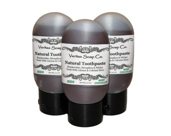 MINT CHOCOLATE Toothpaste - Remineralize & Help Fight Cavities with Organic Cacao / Vegan / No sls / No Fluoride / Brown Toothpaste - KIDS