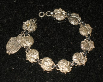 Antique Repousse Sterling Christian Rose and Saints Bracelet 6 inch