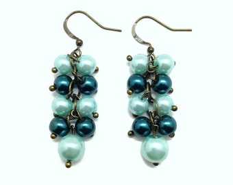 Antique Brass, Teal Pearls, Cluster Earrings, Teal Pearl Earrings, Pearl Cluster, Earrings, Pearl Earrings, Teal Earrings, Long Earrings