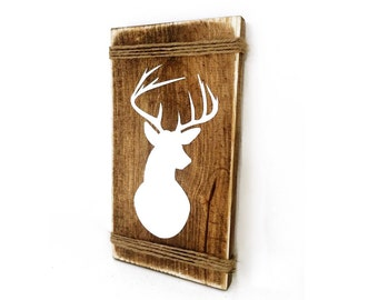 Deer Wall Mount Rustic Wood Sign - Indie home decor, gifts for her, country cabin decor, hunting sign, reclaimed pallet, Aztec Bedroom