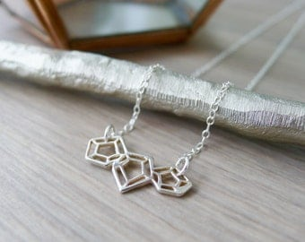 Sterling Silver Geometric Diamond Cut Out Necklace, Geometric Jewelry, Geometric Jewel Necklace, Modern Jewelry