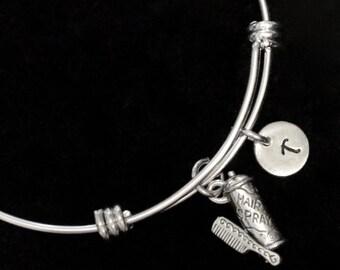 Hairdresser Bracelet, Hairspray Bangle Bracelet, Comb Charm Bracelet, Adjustable Bracelet, Stainless Steel Bracelet, Initial Bracelet, qb87