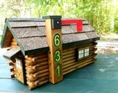 Log Cabin Mailbox, handcrafted log home, carved house number, featured in Log Home Living and in Reader's Digest