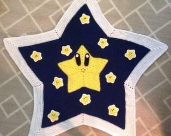 Handmade Mario Star Child's Crochet Blanket
