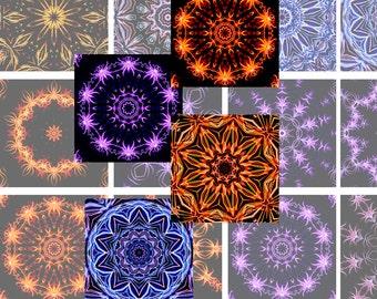 Kaleidoscope Mandalas - Purple Orange Red Yellow - Digital collage sheet 2x2 inch squares (14S) ) jewelry making, scrapbooking, craft