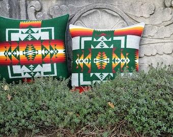 Set of two 16x16 Green Navajo Wool Pillows