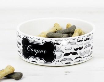 Personalised Pet Bowl - Dog Cat Feeding Dish - Moustache Hipster P115