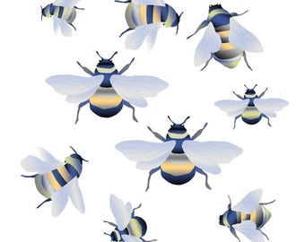 Bees Wall Decal, Nursery Wall Decal, Wall Decal Kids, Baby Boy Nursery, Nursery Decor, Woodland Nursery, Wall Decal Murals, Reusable Decals
