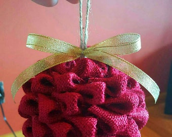 Burlap Ball Christmas Ornament Country Christmas Burlap