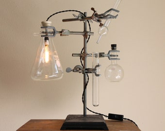 Industrial desk lamp steampunk antique chemistry laboratory science biology apothecary light Erlenmeyer flask with vintage-style Edison bulb