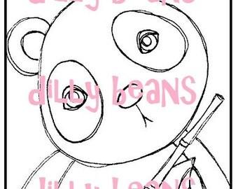 Panda Framed Digi stamp #621 Dilly Beans by Megan