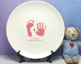 Ceramic Plate Displaying Baby Hand & Foot Print - Print Taking Kit Is Supplied - Baby Keepsake Gift, Christening Gift, Gift for New Parents