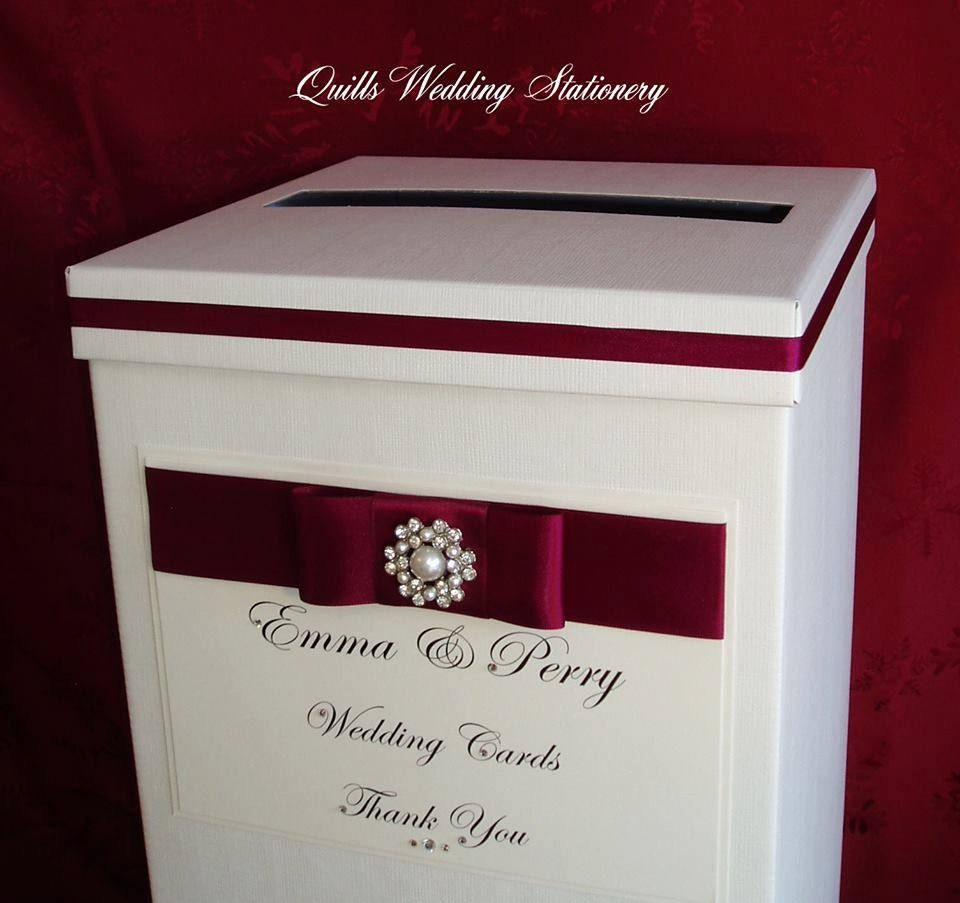 Luxury Personalised Wedding Card Post Box. Diamanté And Pearl