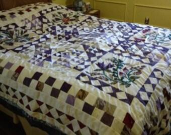"Quilt, Bedspread, 'Purple Flowers""  NEW STOCK"