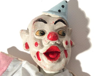 Vintage 1930s/1940s Scary Clown Hand Puppet with Chalk? Head
