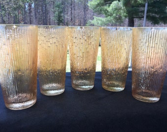 Vintage Tree Bark Variant 16 oz Flat Tumblers (5) in Marigold Carnival by Jeannette