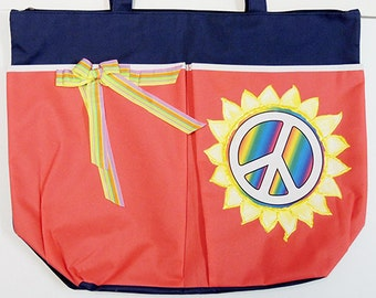 SALE - Peace Sign Tote or Beach Bag, Hand-Painted, Extra Large