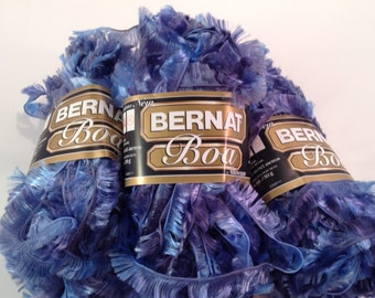 Bernat Boa Yarn in Color Bluebird, Lot of 3 Skeins