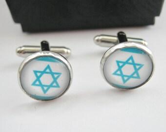 "Jewish Cufflinks Star of David 14mm (1/2"") Israeli Flag Mens, Boys, Groomsmen Cuff Links, Jewish Religious Jewelry Gifts"