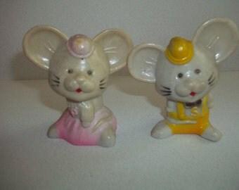 Vintage Plastic Mice Salt and Pepper Shakers